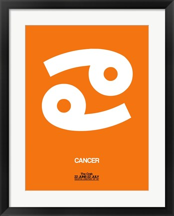 Framed Cancer Zodiac Sign White on Orange Print
