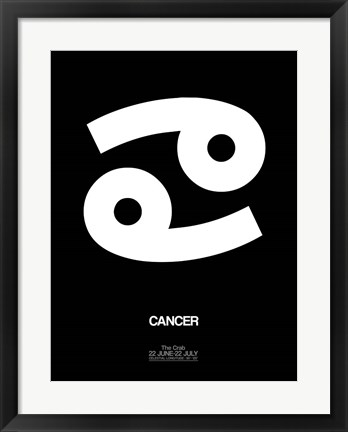 Framed Cancer Zodiac Sign White Print
