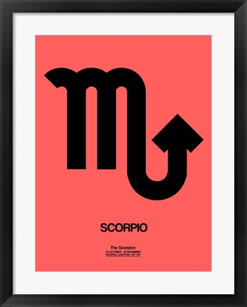 Framed Scorpio Zodiac Sign Black Print