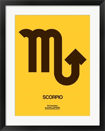 Framed Scorpio Zodiac Sign Brown Print