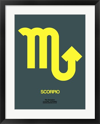 Framed Scorpio Zodiac Sign Yellow Print