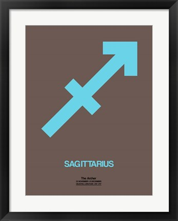 Framed Sagittarius Zodiac Sign Blue Print