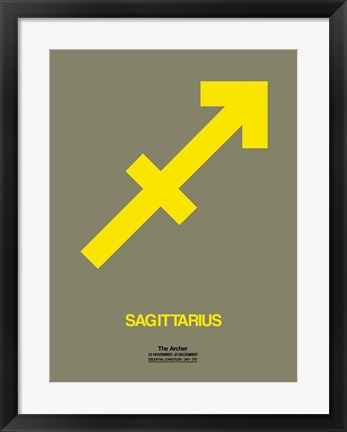 Framed Sagittarius Zodiac Sign Yellow Print