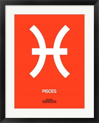Framed Pisces Zodiac Sign White on Orange Print