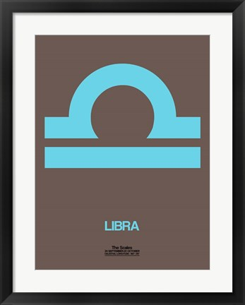 Framed Libra Zodiac Sign Blue Print