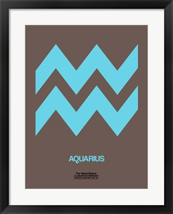 Framed Aquarius Zodiac Sign Blue Print