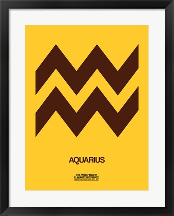 Framed Aquarius Zodiac Sign Brown Print