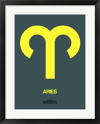 Framed Aries Zodiac Sign Yellow Print