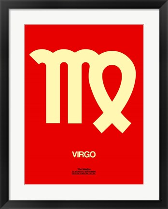 Framed Virgo Zodiac Sign Yellow Print