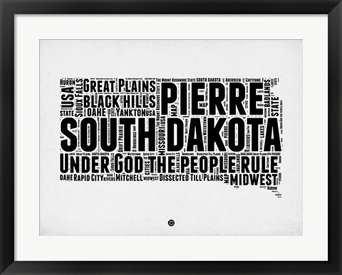 Framed South Dakota Word Cloud 1 Print