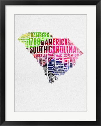Framed South Carolina Watercolor Word Cloud Print