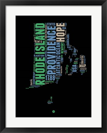 Framed Rhode Island Word Cloud 2 Print