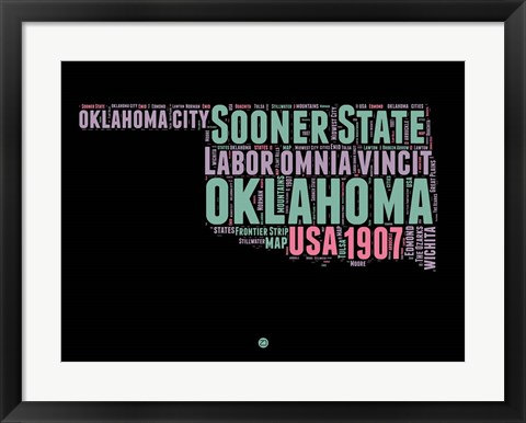 Framed Oklahoma Word Cloud 1 Print