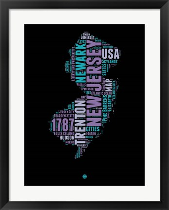 Framed New Jersey Word Cloud 1 Print
