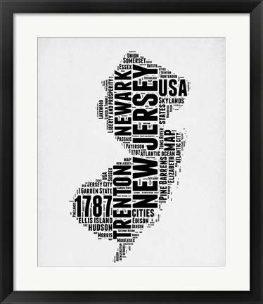 Framed New Jersey Word Cloud 2 Print