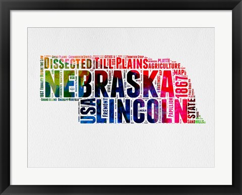 Framed Nebraska Watercolor Word Cloud Print
