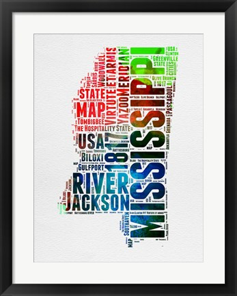 Framed Mississippi Watercolor Word Cloud Print