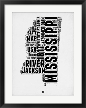 Framed Mississippi Word Cloud 2 Print