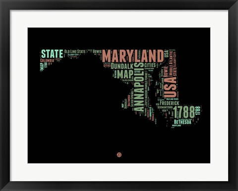Framed Maryland Word Cloud 1 Print