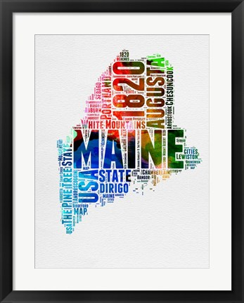Framed Maine Watercolor Word Cloud Print