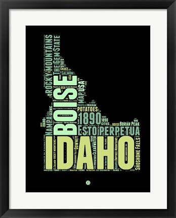 Framed Idaho Word Cloud 1 Print