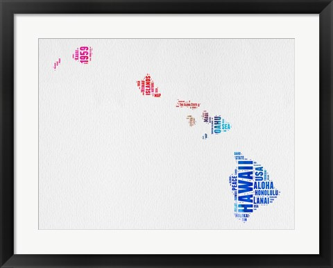 Framed Hawaii Watercolor Word Cloud Print
