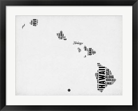 Framed Hawaii Word Cloud 2 Print