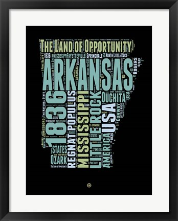 Framed Arkansas Word Cloud 1 Print