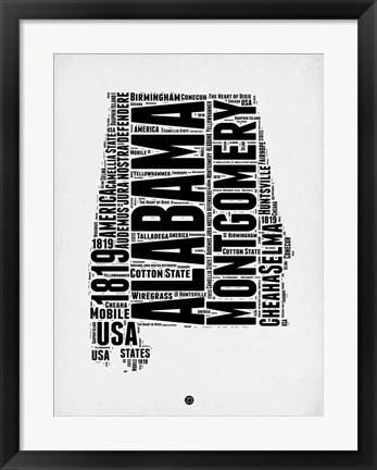 Framed Alabama Word Cloud 2 Print