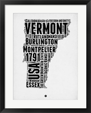 Framed Vermont Word Cloud 2 Print