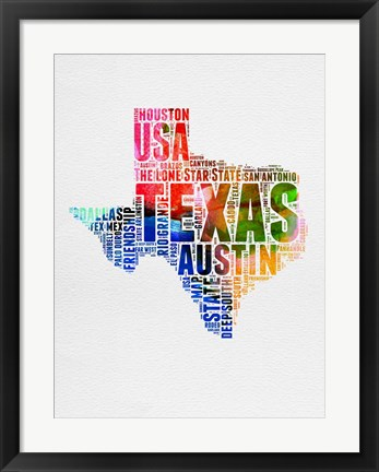 Framed Texas Watercolor Word Cloud Print
