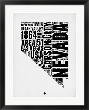 Framed Nevada Word Cloud 2 Print