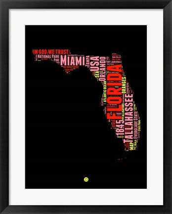 Framed Florida Word Cloud 1 Print
