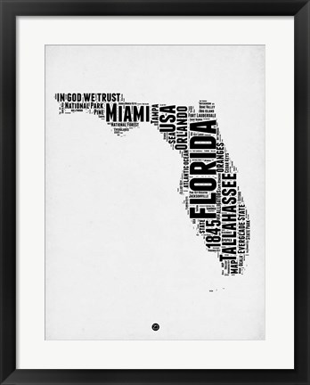 Framed Florida Word Cloud 2 Print