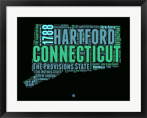 Framed Connecticut Word Cloud 1 Print