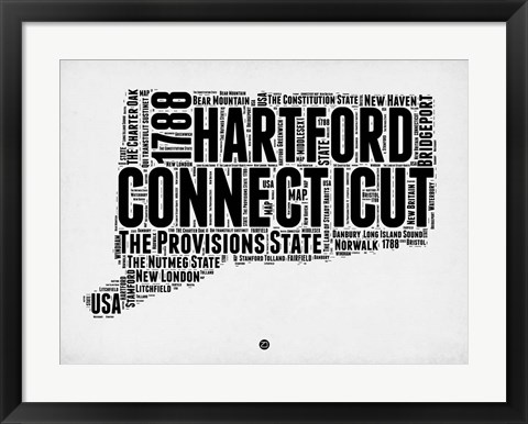 Framed Connecticut Word Cloud 2 Print