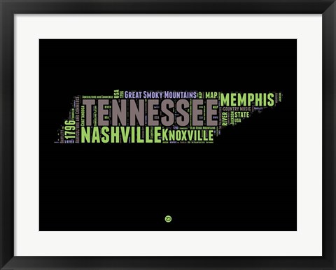 Framed Tennessee Word Cloud 1 Print