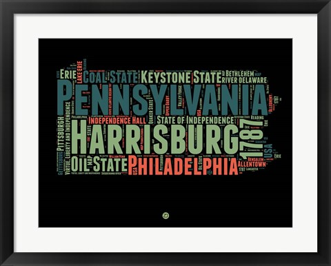 Framed Pennsylvania Word Cloud 1 Print