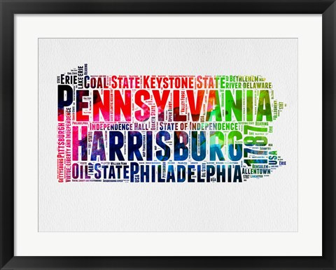 Framed Pennsylvania Watercolor Word Cloud Print