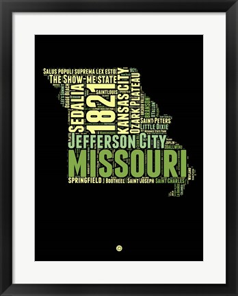 Framed Missouri Word Cloud 1 Print