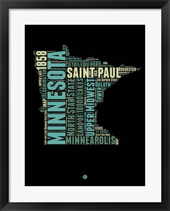 Framed Minnesota Word Cloud 1 Print