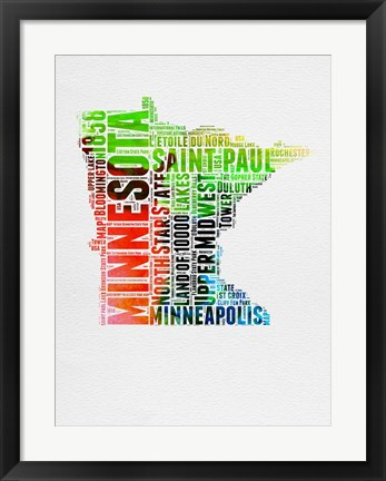 Framed Minnesota Watercolor Word Cloud Print
