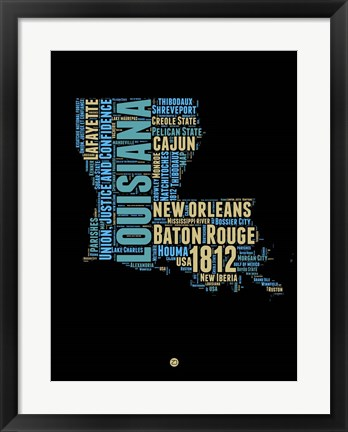 Framed Louisiana Word Cloud 1 Print