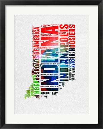 Framed Indiana Watercolor Word Cloud Print