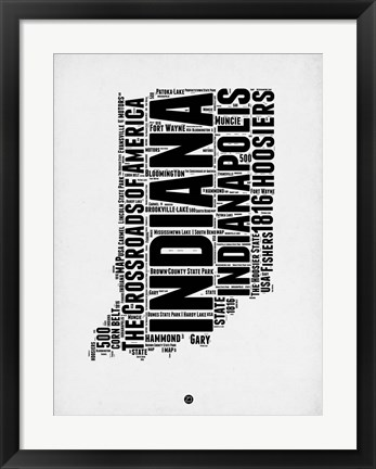 Framed Indiana Word Cloud 2 Print