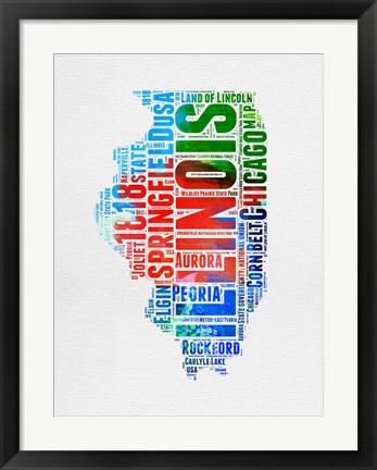 Framed Illinois Watercolor Word Cloud Print
