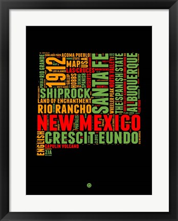 Framed New Mexico Word Cloud 1 Print