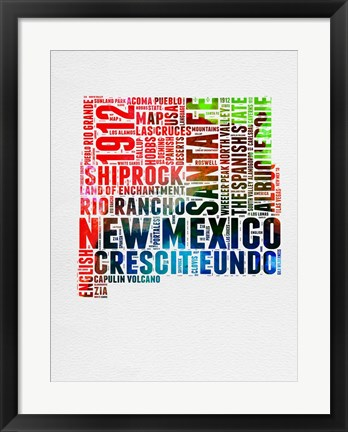 Framed New Mexico Watercolor Word Cloud Print