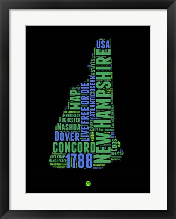 Framed New Hampshire Word Cloud 1 Print