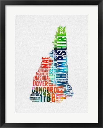 Framed New Hampshire Watercolor Word Cloud Print